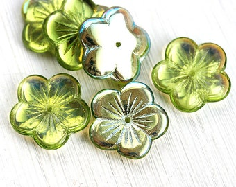 20mm Flower beads - Green with luster, metallic green, AB finish - czech glass, large flower - 6pc - 1758