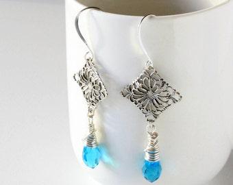 Aqua Glass Earrings, Blue Crystal Earrings, Wire Wrapped Earrings, Silver Earrings, Bridal Earrings, Wedding Jewelry, Aqua Crystal Earrings