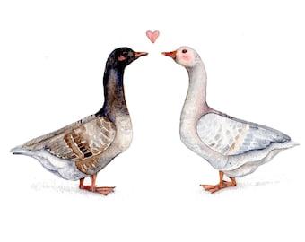 Two Pilgrim Geese in Love - Original Watercolor Painting 8''x9.5'' - Wall Art Decor