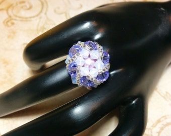 The Abby- Violet and Violet Opal Swarovski Crystal Fashion Ring with Captured Pearl