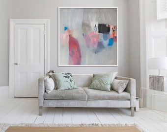 "large abstract painting print, Giclée PRINT, grey, pink, blue, ""Lead Lined Diamond"