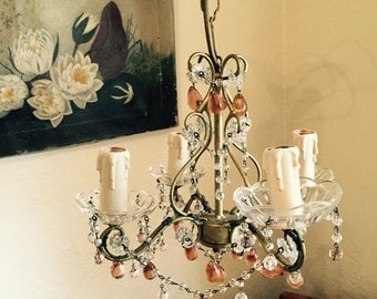 Free Shipping in Australia! Mid century french antique chandelier with pink champagne drops