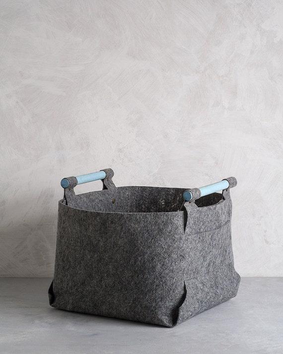 Large Felt Storage Bin with Light Blue Wood Handles, Felt Basket, Storage Basket, LB-04