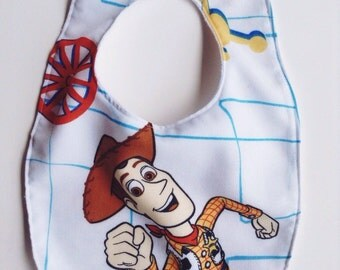 Woody Baby Bib, Woody Handmade Baby Bib, Disney Woody Bib, Toy Story Baby Bib, Woody Buzz Bib, Pixar Character Sheets Bib, Disney Pixar Baby