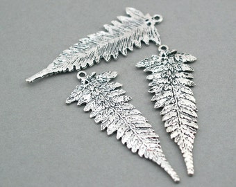 Fern Leaf Charms Antique Silver 4pcs base metal pendant beads 22X58mm CM0084S