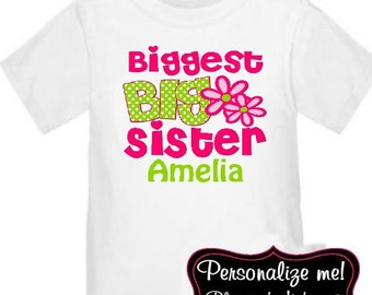 Big Sister Pink Green Floral Personalized T Shirt