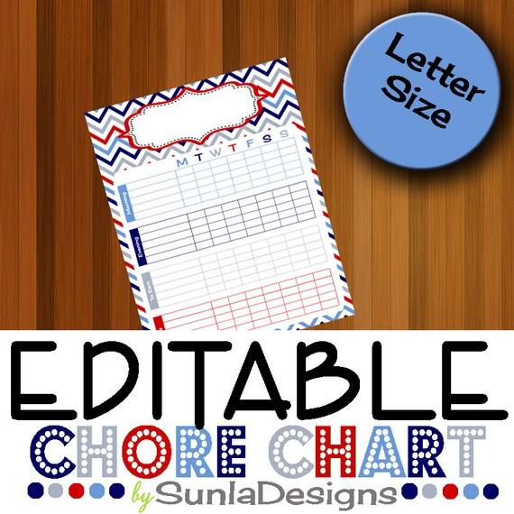 EDITABLE Behavior Chart Weekly Chore Chart Behavior Charts