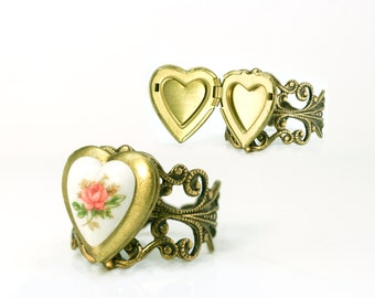 Rose LOCKET RING Adjustable size, Antique Milk glass SELECT pink blue or yellow flower. Gift box included. Quality Keepsake & fashionable