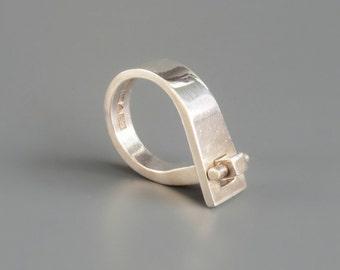 RESERVED // Scandinavian Modernist Ring. Pekka Piekainen Finland. 1970s. Sterling Silver.