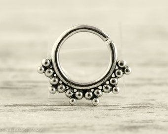 Septum Ring Piercing Nose Ring Body Jewelry Sterling Silver Bohemian Fashion Indian Style 16g 14g - SE017R SS G1