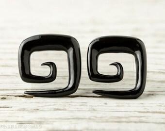 """Spiral Gauge Earrings Black Horn Square Earrings 16g 14g 12g 10g 8g 6g 4g 2g 0g 00g 1/2""""  Expanders - GA009 H G2"""