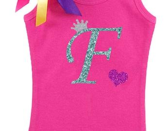 Girls Birthday Shirt, Personalized Initial F, Princess Crown Initial, Monogrammed F, Girls Birthday Shirt, Letter F Monogram, Name on Shirt