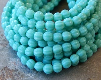 5mm Turquoise - Czech Pressed Fluted Melon Glass Beads, 25 PC (INCM411)