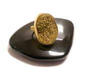 """The """"Bling Ring""""-Huge Sparkly, Gold, Druzy-Druze -Statement -Cocktail Ring"""