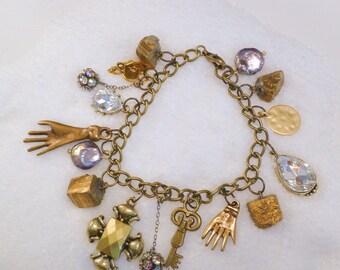 Pyrite-Mineral Mix-Charm Bracelet: keys, crystals,hands,rondelles,hearts