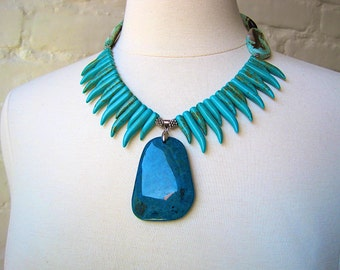 "Turquoise Agate with Howlite ""Spikes"" Necklace"