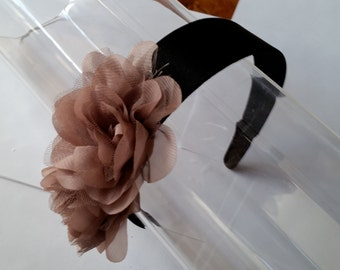 Beige Taupe Organza Chiffon Black Satin Headband, for weddings, parties, special occasions