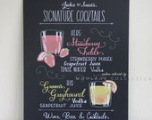 "Custom cocktail menu drawing, 11""x14"" art board, ink drawing by hand"
