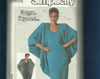 Vintage 1980's Simplicity 7849 Cocoon Jacket with Strong Shoulders Camisole Dress & Pants  Size 10..12..14