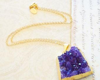 Stunning Amethyst Druzy Cluster Necklace, Druzy Jewelry, Geode Druzy