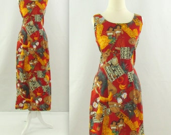 Tiki Wiggle Dress - Vintage 1980s Hawaiian Summer Dress by Hilo Hattie - Medium