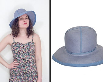 Powder Blue Hat Bucket Style // Straw Sun 1960s Ann Marie // Beach Vacation Periwinkle XS Small