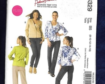 McCall's 6329 Misses' Lined Light Weight Jacket With Princess Seams, Large Lapel, And No Collar, Sizes 8, 10, 12, 14, 16, UNCUT
