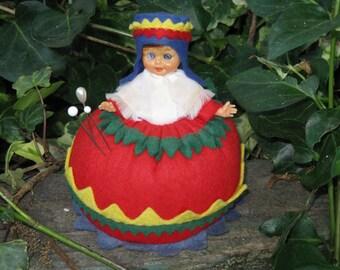 Vintage Pincushion Doll Colorful Felt Outfit Scandinavian Hard Plastic Sleep Eye Sewing Decor Decorative Collectible