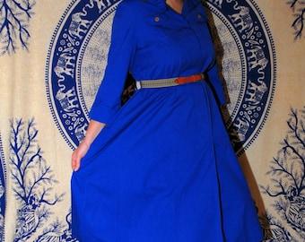 Royal Readiness Vintage 1970s / 1980s N R 1 Ned Gould Mod Trapeze / Tent / Smock / Pepsi Blue / A - Line Circle Dress Sz Medium / Large