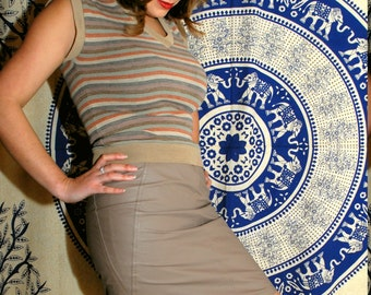 All Hide Honey 1980s Vintage Tanazzia Design Group Light Tan High Waisted Lined  Mini Pencil Skirt Sz 9 / 10 / Medium