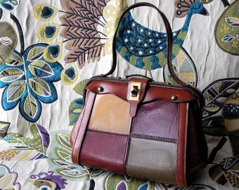 Patchwork Perfect 1960s Vintage Mod Faux Leather Clutch Handbag Small Purse