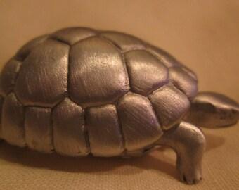 """pewter turtle box 2"""" vintage michael michaud"""