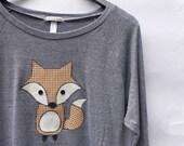 Fox - heather grey long sleeve raglan boat neck womens shirt