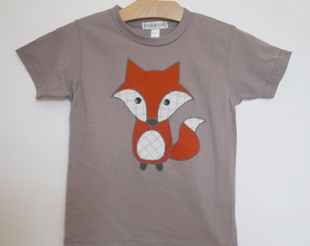 Childrens applique fox tshirt - organic cotton - made with upcycled fabric