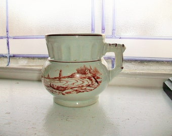Antique Ironstone Cup Mug Circa Late 1800s Ionic Pattern Nautical Scene