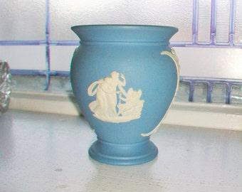 Wedgwood Jasperware Blue Vase Grecian Scenes