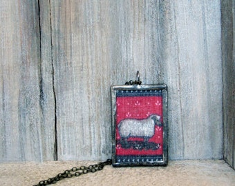 Sheep Pendant, Rustic Pendant, Soldered Glass Pendant, Christmas Pendant, Soldered Glass