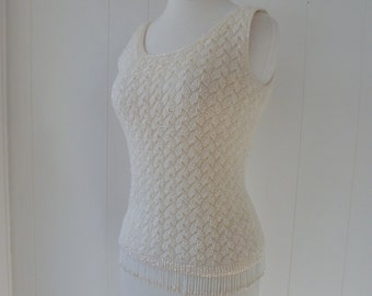 60's Girl Group Top Pale Iridescent Ice Cream Beaded Beaded Fringe Sequin Top Flapper Shell XS S