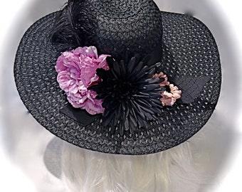 Black Derby Hat Sun Hats Women's Hats  DH-138