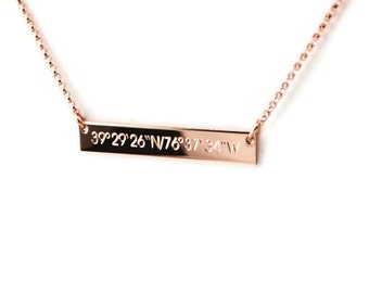 Rose gold Compass coordinate horizontal bar nameplate necklace - personalized - Wedding honeymoon location - Engagement - Bridesmaids gifts