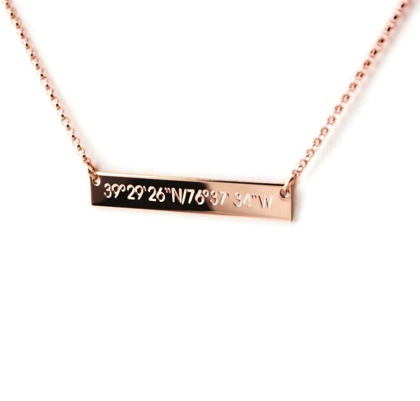 rose gold compass coordinate horizontal bar nameplate necklace. Black Bedroom Furniture Sets. Home Design Ideas