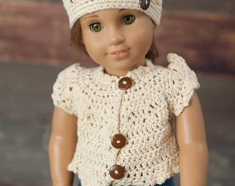 18 inch crochet Doll Clothes/3 piece set/ Shirt, Hat and Headband