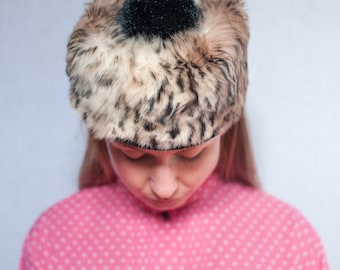 Vintage Norwegian Fur Pillbox Fascinator Hat with Pom Pom