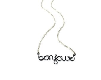 Bonjour French Necklace Wire Word Jewelry Simple Black
