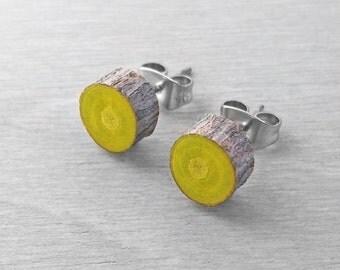 Bright Green Wood Slice Stud Earrings - Bark Earrings - Hardwood Faux Plug Fake Gauge Post Earrings with Surgical Steel posts