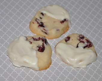 Shortbread Cookies Cranberry  White Chocolate Dipped , 1 dozen  Edible Cookie Gift Egg Free