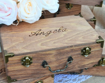 Keepsake Box, Vintage Style Suitcase Box, Bridesmaid Box, Will You Be My Bridesmaid, Maid of Honor, Flower Girl