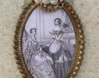 Antique French Portrait Etching Brass Oval Frame Repurposed Vintage Jewelry Antique Metallic Trim Altered Original Assemblage Art Home Decor