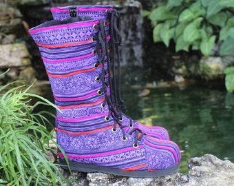 Womens Combat Boots Ethnic Hmong Purple Batik Mid Calf Lace Up  - Britta