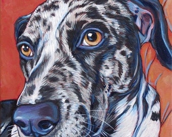 """8"""" x 8"""" Custom Pet Portrait Painting in Acrylics on Ready to Hang Canvas of One Dog, Cat, Animal. Colorful Modern Dog Lover Christmas Gift"""